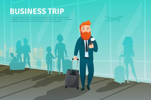 Homem negócios, em, aeroporto, cartaz