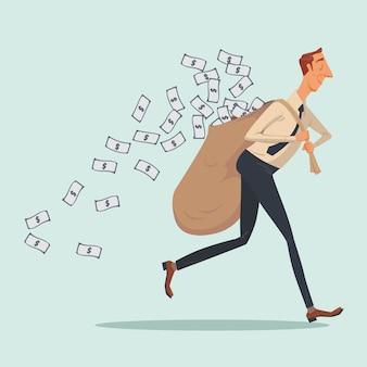 Homem negócios, em, casual, carregar, pesado, sacola dinheiro