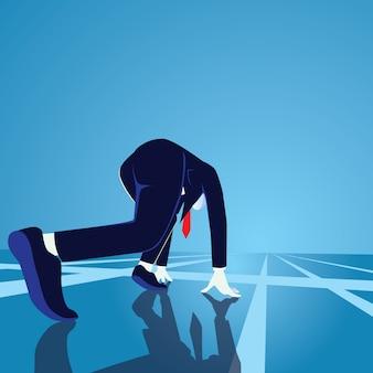 Homem negócios, em, começando posição, pronto, para, sprint, corrida