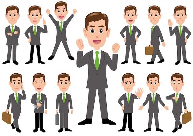 Homem negócios, em, diferente, poses