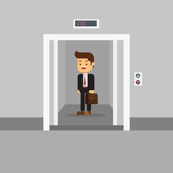 Homem negócios, em, edifício escritório, elevador