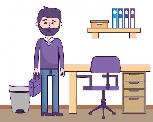 Homem negócios, em, escritório