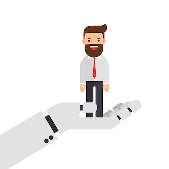 Homem negócios, em, robotic, mão