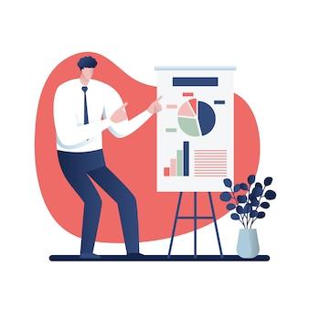 Homem negócios, em, um, apresentação negócio, conceito, caricatura, ilustração