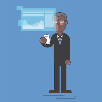 Homem negócios, em, um, digital, apresentação