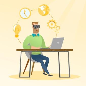 Homem negócios, em, vr, headset, trabalhando, um computador