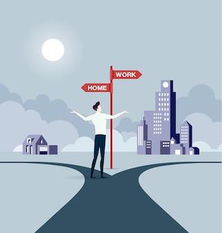 Homem negócios, equilibrar, entre, trabalho, e, vida