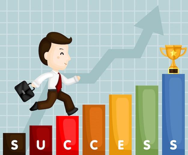 Homem negócios, escalando, escada, de, sucesso