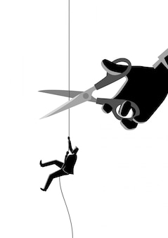 Homem negócios, escalando, ligado, corda, sendo, corte, com, tesouras