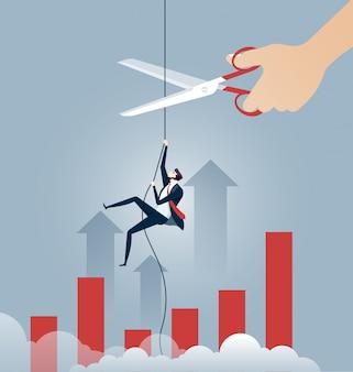 Homem negócios, escalando, ligado, corda