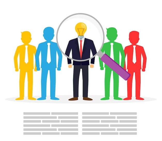 Homem negócios, escolher, a, empregado perfeito, conceito negócio