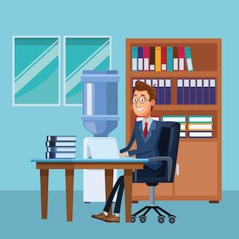 Homem negócios, escrivaninha