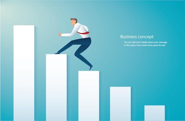 Homem negócios, executando, ligado, gráfico