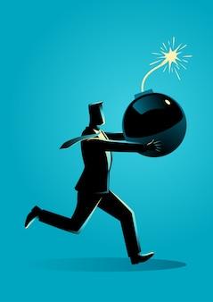 Homem negócios, executando, pânico, com, bomba, em, seu, mão