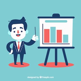 Homem negócios, explicar, estatísticas