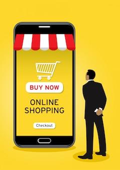 Homem negócios, fazendo compras online