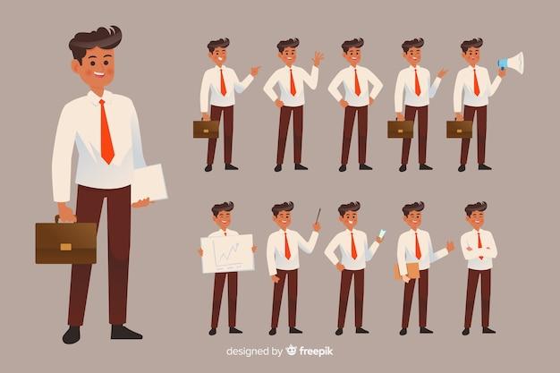 Homem negócios, fazendo, diferente, ações