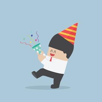 Homem negócios, feliz, em, partido comemoração