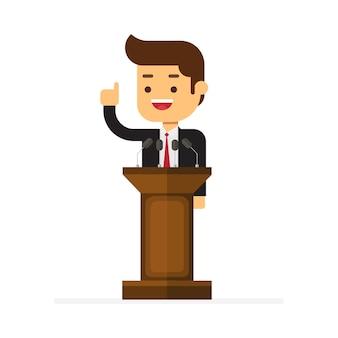 Homem negócios fica, atrás de, rostro, e, dar um discurso