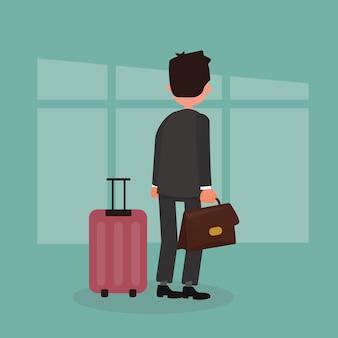 Homem negócios fica, com, bagagem, wheeled, boarding, spinner, em, aeroporto