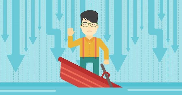 Homem negócios fica, em, afundando, bote