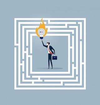 Homem negócios fica, em, um, labirinto, com, um, solução, para, sucesso