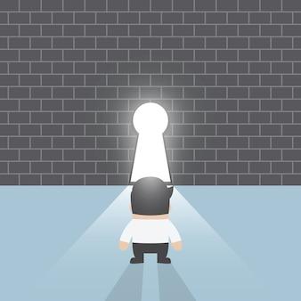 Homem negócios fica, frente, buraco fechadura
