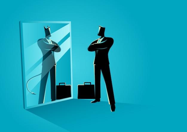 Homem negócios fica, frente, um, espelho