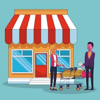 Homem negócios, idéias compra, para, mulher negócio, em, loja, vetorial, ilustração, gráfico, desenho