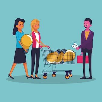Homem negócios, idéias compra, para, womens, shopping, vetorial, ilustração, gráfico, desenho