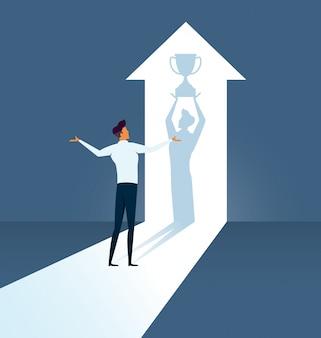 Homem negócios, imaginar, seu, futuro, sucesso
