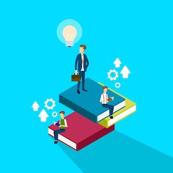 Homem negócios, leitura, livros, brainstorming, estudo, 3d, isométrico