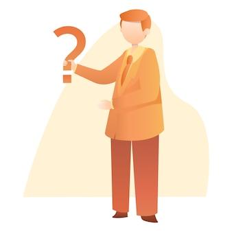 Homem negócios, levantar, segurando, pergunta, marca, ilustração