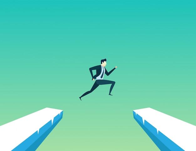 Homem negócios, líder, pulo