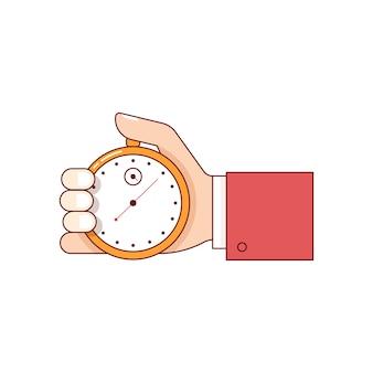 Homem negócios, mão, segurando, cronômetro