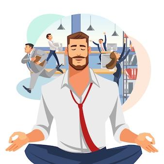 Homem negócios, meditar, em, escritório, caricatura, vetorial