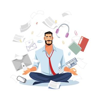 Homem negócios, meditar, em, trabalho, caos, apartamento, vetorial