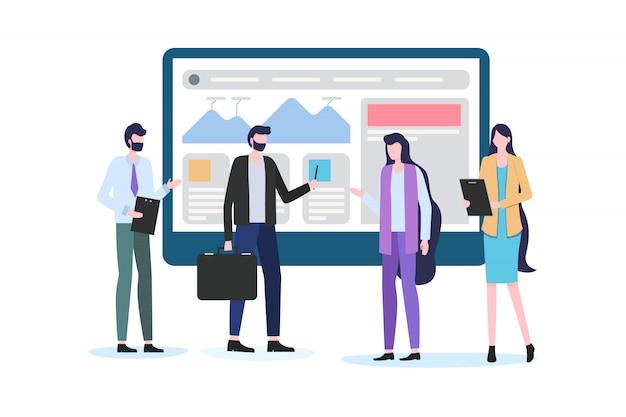 Homem negócios, mostrar, relatório gráfico, ligado, tela homem mulher, trabalhador escritório