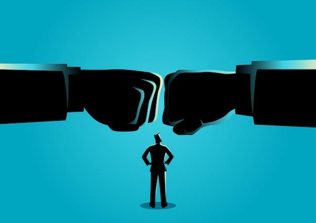 Homem negócios, observar, dois, gigante, punho, clashed