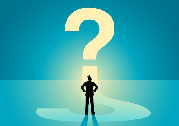 Homem negócios, olhar, grande, pergunta, marca
