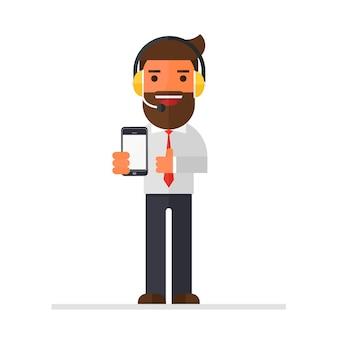 Homem negócios, ou, serviço cliente, segurando, esperto, telefone