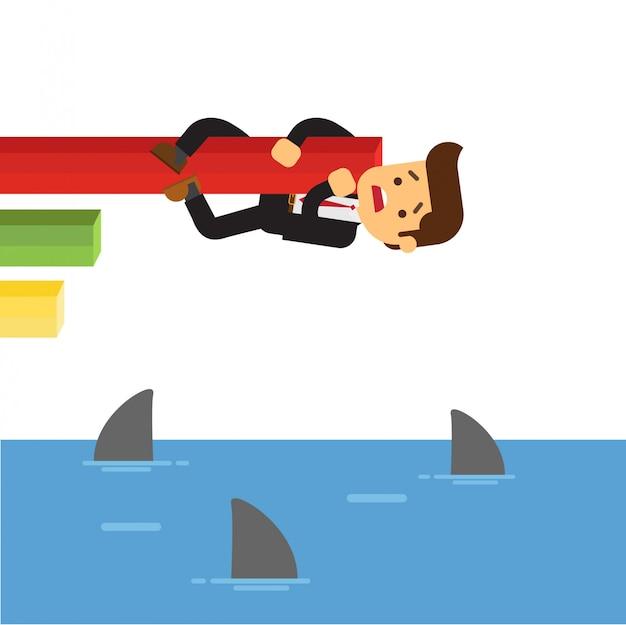 Homem negócios, pendurando, tubarões