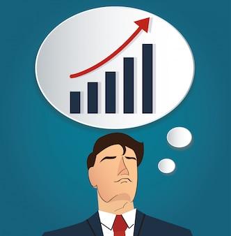 Homem negócios, pensando, com, alto, gráfico, ícone
