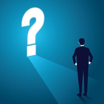 Homem negócios, pergunta, marca