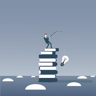 Homem negócios, pesca, lâmpadas, ficar, ligado, pilha livros