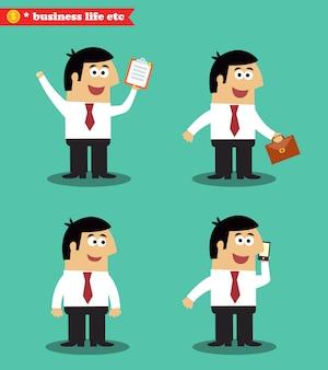 Homem negócios, poses, ficar, jogo
