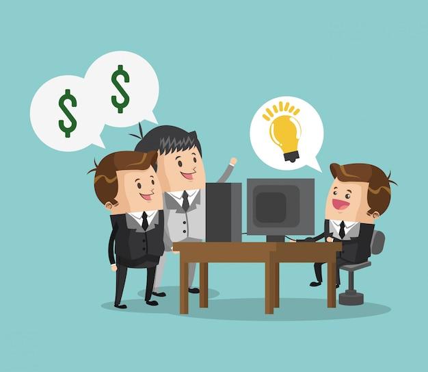 Homem negócios, requerer, crowfunding, caricatura