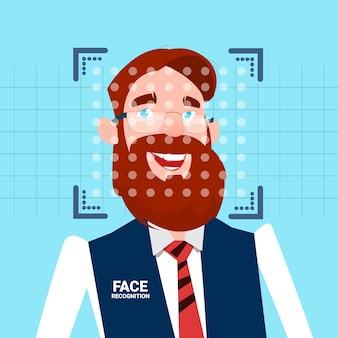 Homem negócios, rosto, identificação, tecnologia, scannig, homem, acesso, controle, sistema, biométrico, reconhecimento, conceito