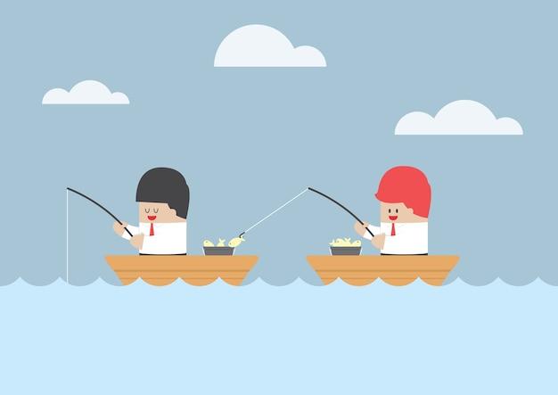 Homem negócios, roubando, peixe, de, seu, amigo