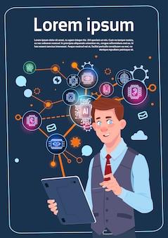 Homem negócios, segurando, apresentação, levantar, sobre, tela digital, com, gráficos, e, gráfico, infográficos, negócio